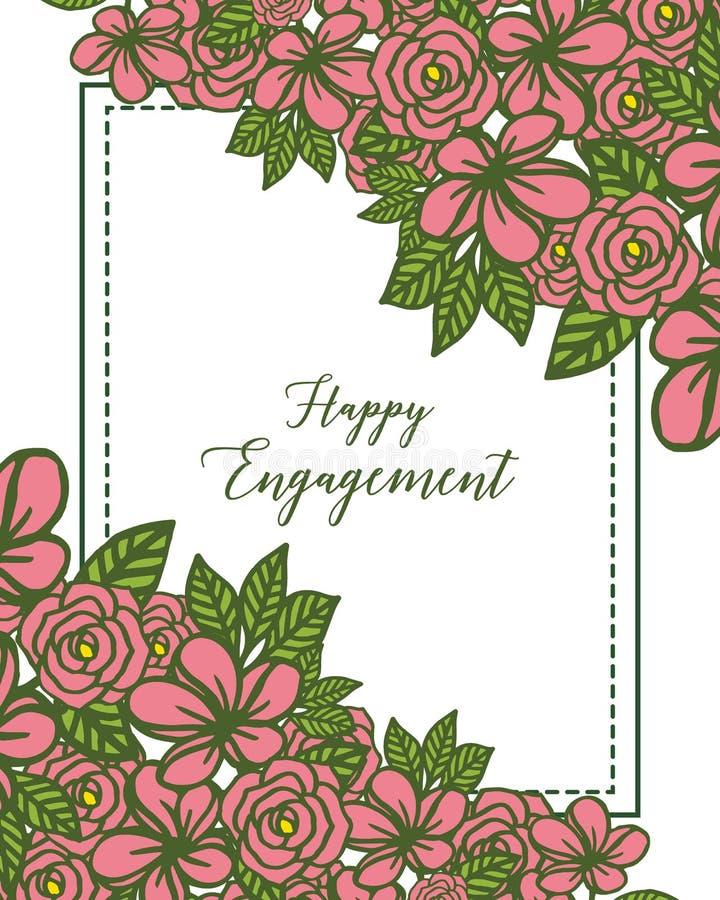 Cadre de guirlande d'illustration de vecteur pour la diverse carte de l'engagement heureux illustration de vecteur