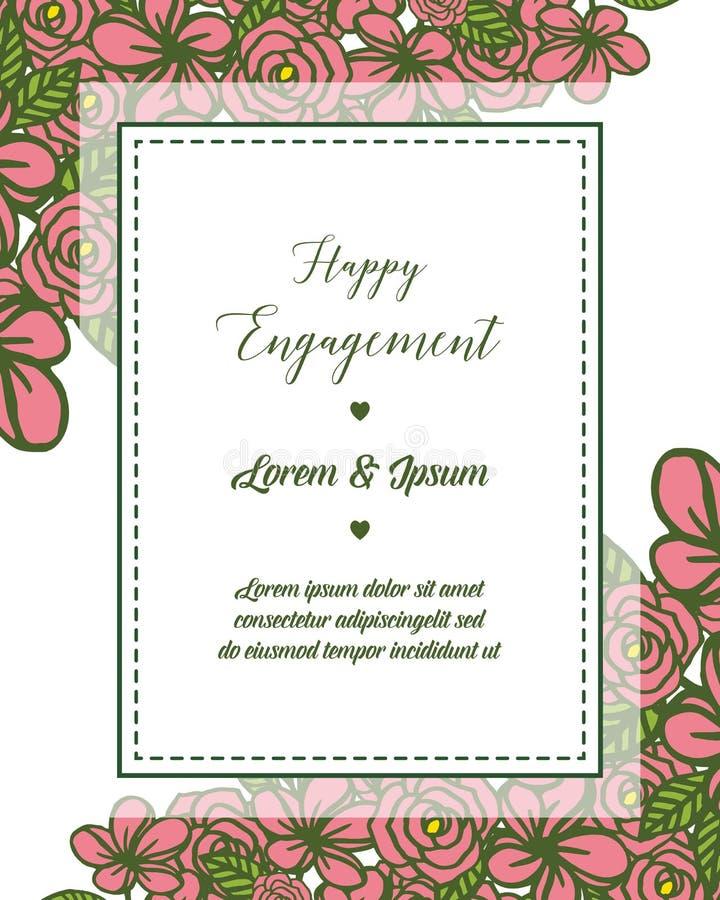 Cadre de guirlande d'illustration de vecteur pour la diverse carte de l'engagement heureux illustration stock