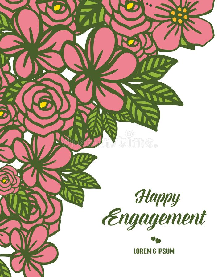 Cadre de guirlande d'illustration de vecteur pour la diverse carte de l'engagement heureux illustration libre de droits