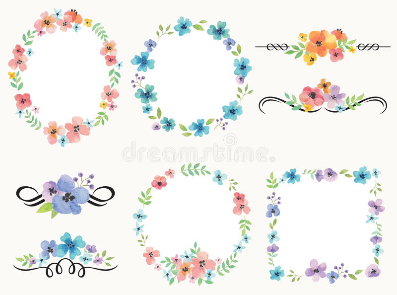 Cadre de guirlande de fleur et ensemble de décoration illustration libre de droits