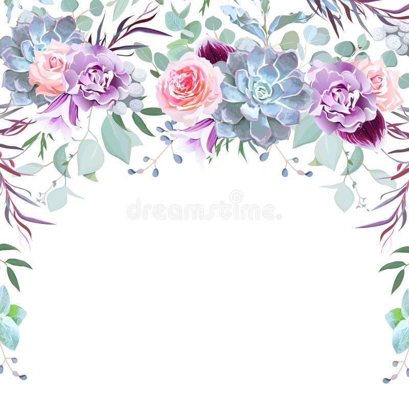 Cadre de guirlande de demi-cercle disposé des fleurs illustration libre de droits
