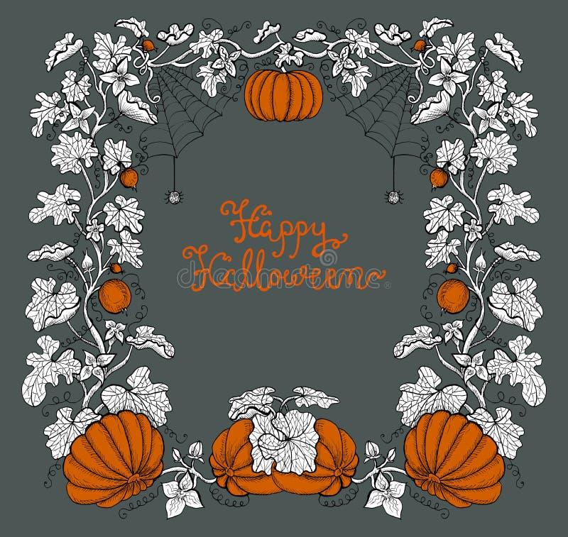 Cadre de Halloween avec des potirons et lettrage sur le fond gris illustration libre de droits
