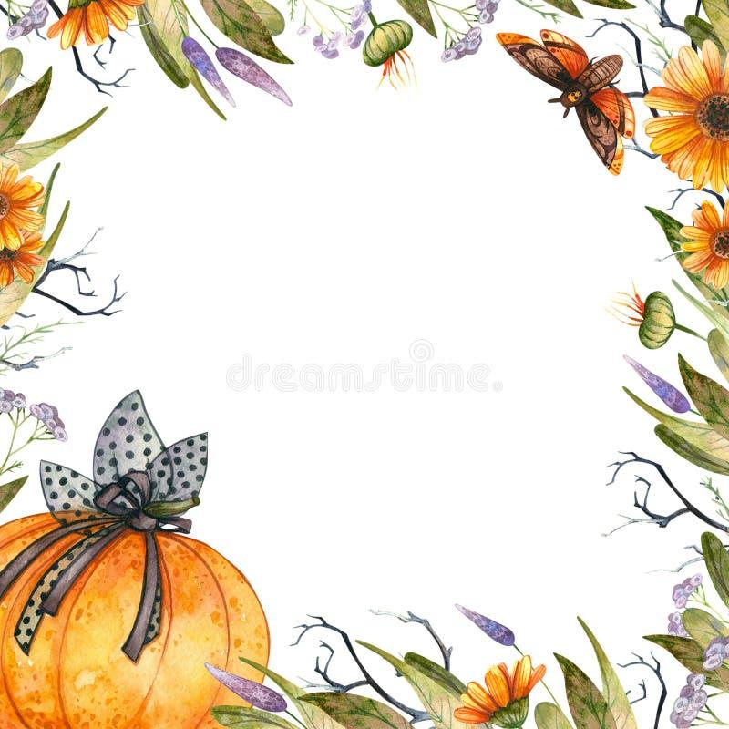Cadre de Halloween d'aquarelle illustration libre de droits