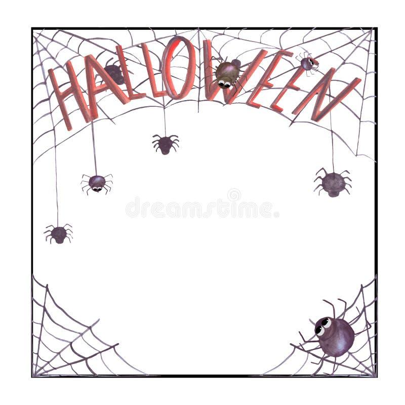 Cadre de Halloween d'aquarelle avec de la toile d'araignée et des araignées Approprié aux invitations, cartes, décorations illustration stock