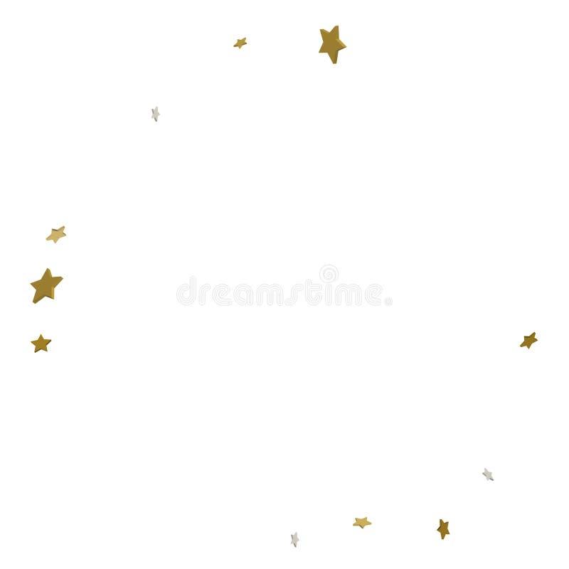 cadre de l'or 3d ou frontière des étoiles d'or de dispersion aléatoire sur le blanc illustration stock