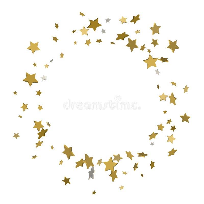 cadre de l'or 3d ou frontière des étoiles d'or de dispersion aléatoire sur le blanc illustration de vecteur