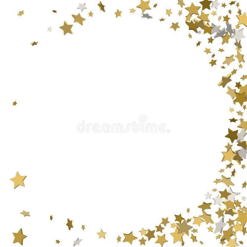 cadre de l'or 3d ou frontière des étoiles d'or de dispersion aléatoire sur le blanc illustration libre de droits