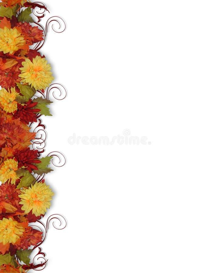 Cadre de lames et de fleurs d'automne illustration libre de droits