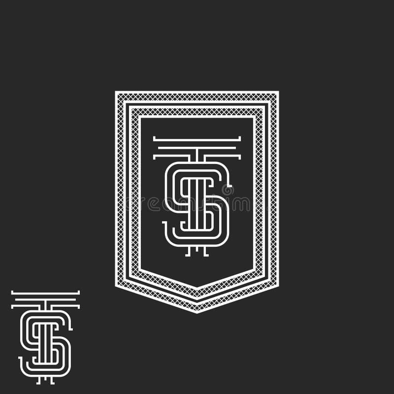 Cadre de monogramme d'initiales de SOLIDES TOTAUX de hippie, maquette noire et blanche d'emblème de boutique de cru, élément call illustration libre de droits