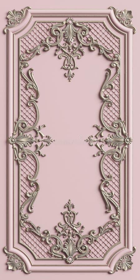 Cadre de moulage classique avec le décor d'ornement illustration stock