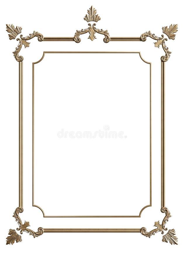 Cadre de moulage classique avec le décor d'ornement pour l'intérieur classique d'isolement sur le fond blanc illustration stock