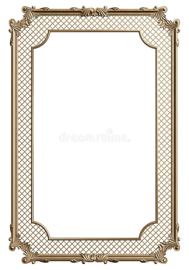 Cadre de moulage classique avec le décor d'ornement pour l'intérieur classique d'isolement sur le fond blanc illustration libre de droits