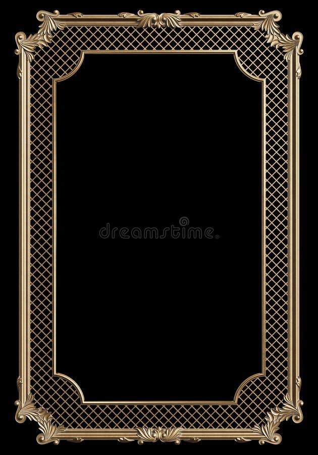 Cadre de moulage classique avec le d?cor d'ornement pour l'int?rieur classique d'isolement sur le fond noir illustration stock