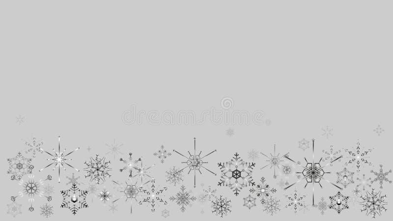 Cadre de Noël avec des flocons de neige sur le fond gris illustration de vecteur