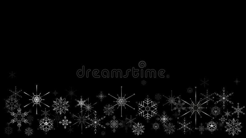 Cadre de Noël avec des flocons de neige sur le fond noir illustration libre de droits