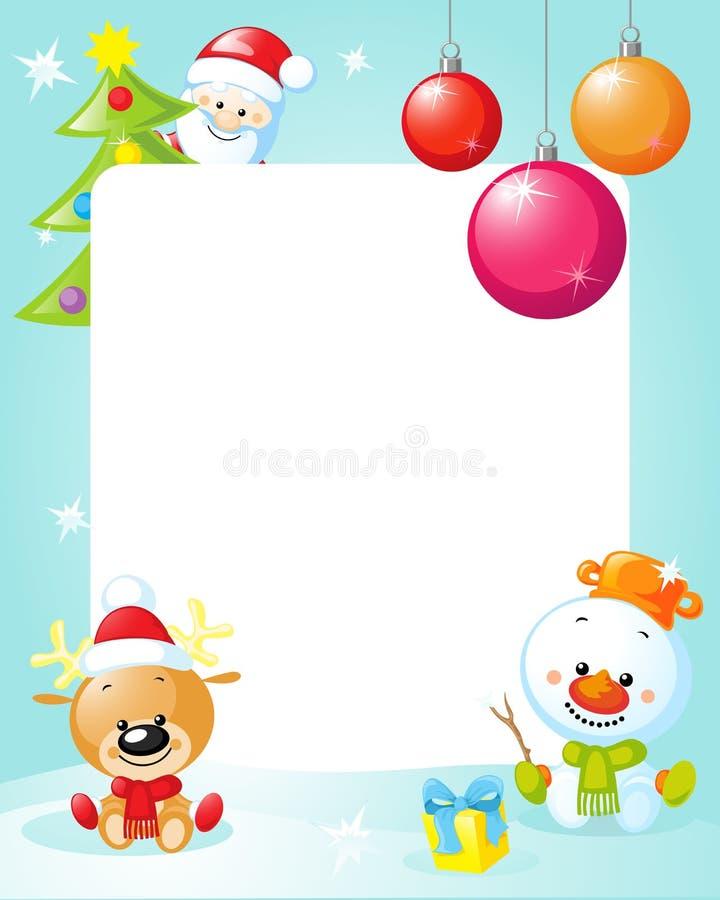 Cadre de Noël avec le bonhomme de neige, l'arbre de Noël, la boule et le renne illustration libre de droits