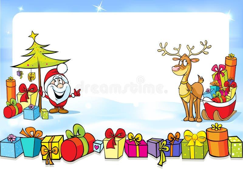 Cadre de Noël avec Santa Claus, dextérités beaucoup de cadeaux et renne illustration libre de droits