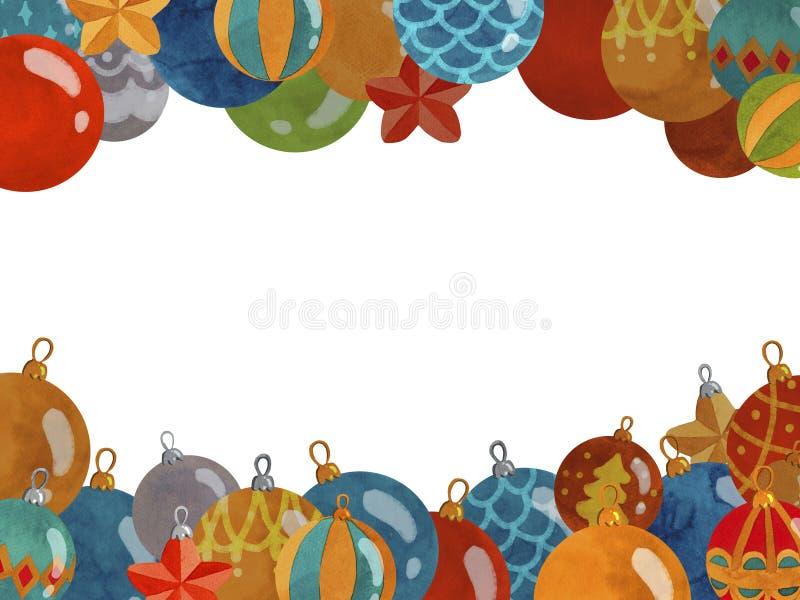 Cadre de Noël décoré des boules de nouvelle année illustration libre de droits
