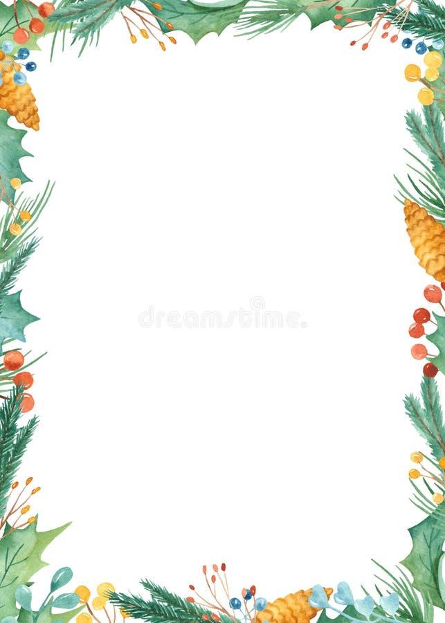 Cadre de Noël d'aquarelle Calibre avec des branches de sapin, baies, cadeaux, boules, arc illustration libre de droits