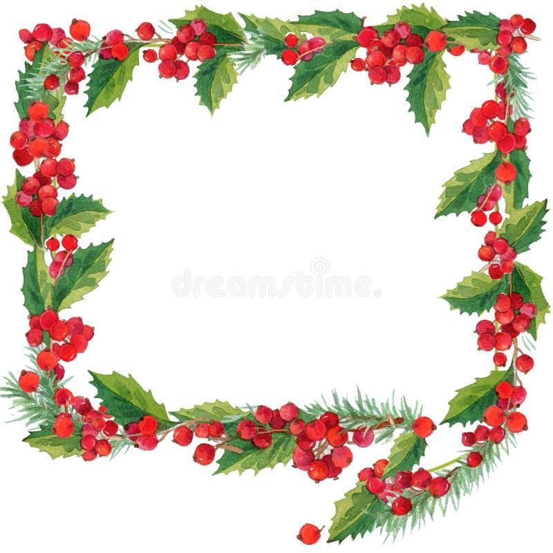 cadre de Noël de bulle de la parole d'isolement sur le fond blanc guirlande de Noël d'hiver d'aquarelle illustration de vecteur