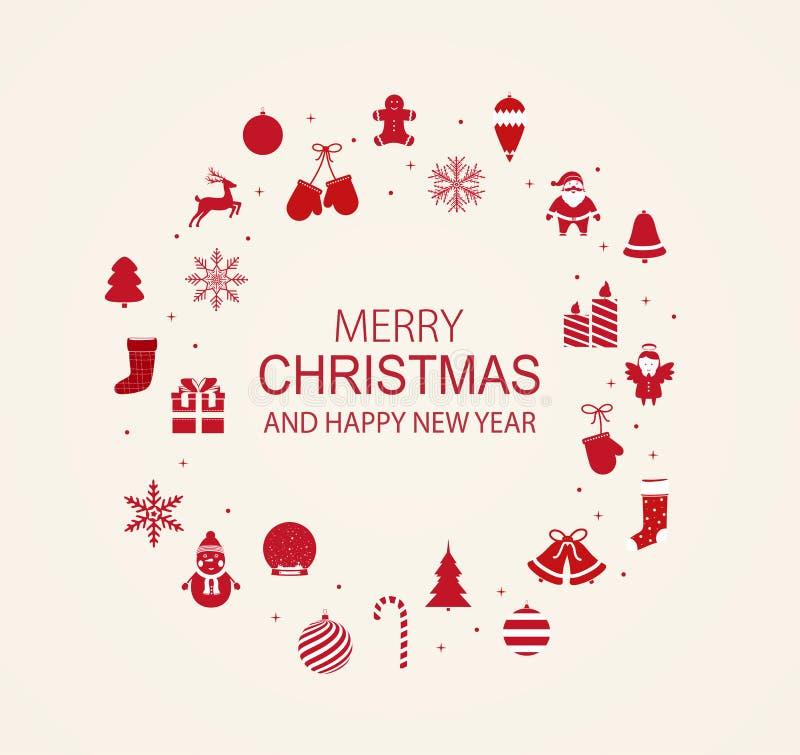 Cadre de Noël et de nouvelle année avec les éléments rouges de décor illustration de vecteur