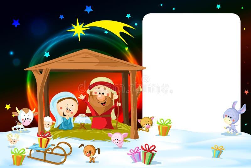 Cadre de Noël - nativité avec des lumières illustration de vecteur