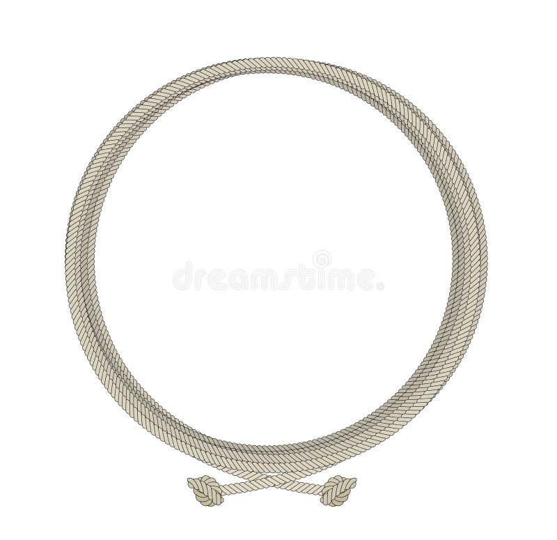 Cadre de noeud de corde ronde illustration de vecteur