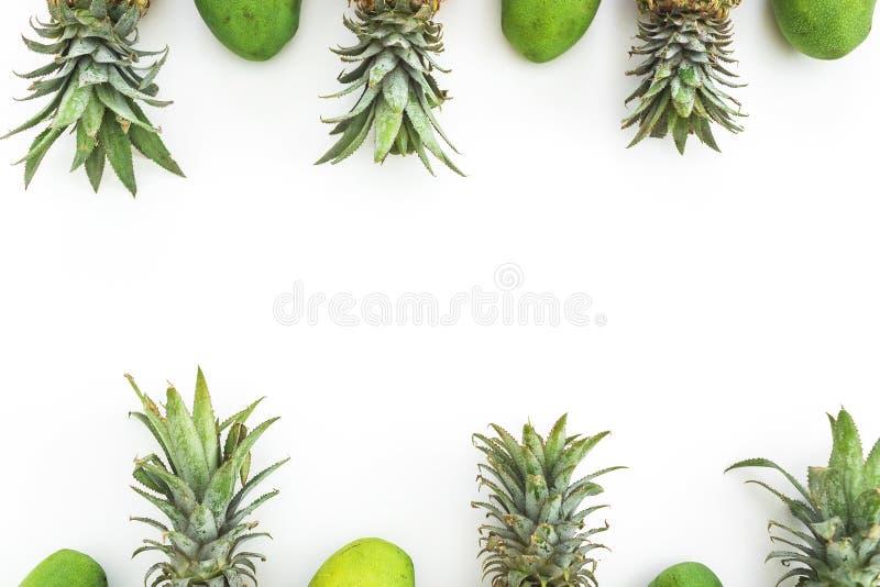 Cadre de nourriture des fruits juteux d'ananas et de mangue sur le fond blanc Configuration plate, vue supérieure Concept de nour photographie stock