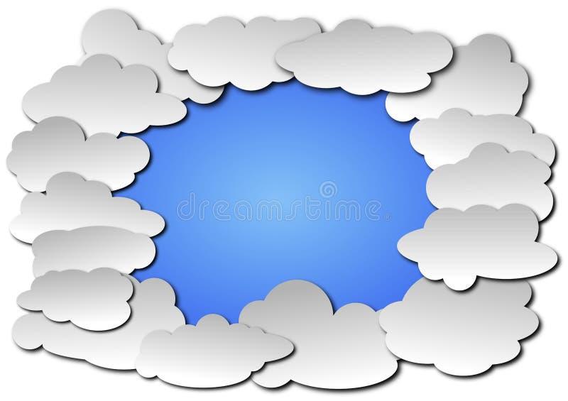 Cadre de nuage d'illustration de vecteur de fond de ciel bleu illustration stock