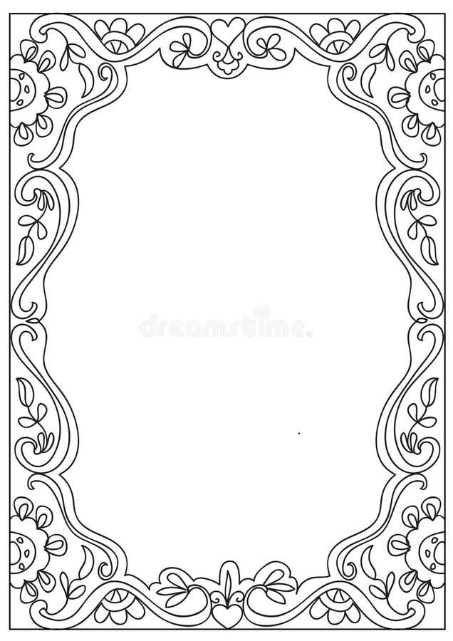 cadre de page d coratif de coloration de format de la place a4 d 39 isolement sur le blanc image. Black Bedroom Furniture Sets. Home Design Ideas