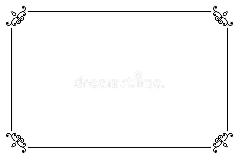 Cadre de page décoratif ornemental Ligne calibre de vecteur de frontière de style illustration stock