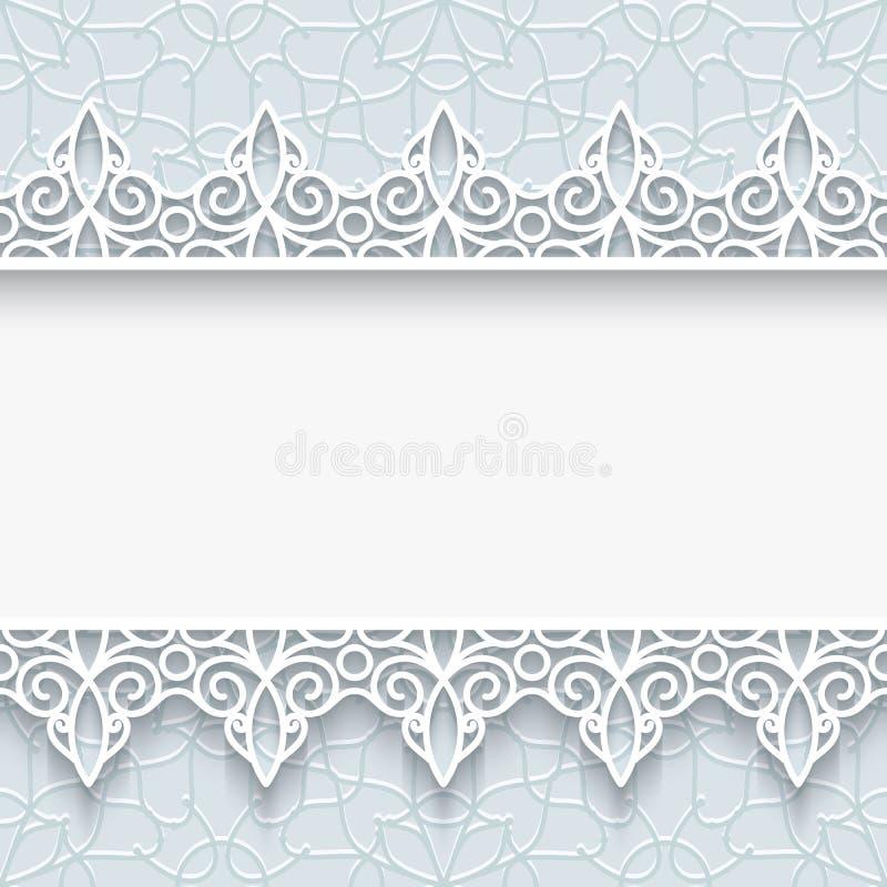 Cadre de papier avec des frontières de dentelle illustration stock