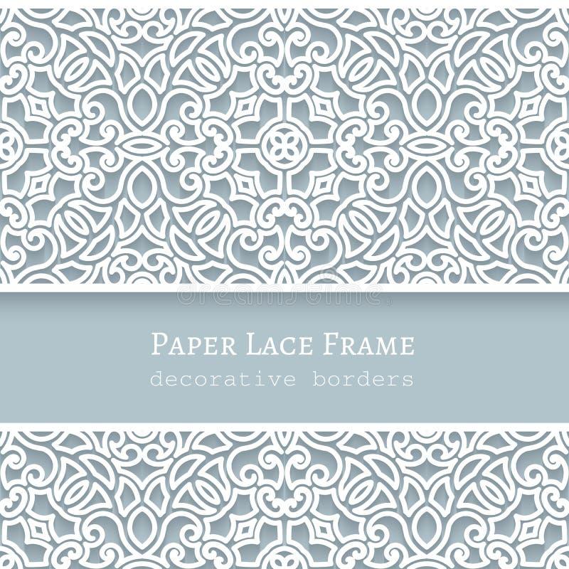 Cadre de papier avec des frontières de dentelle illustration libre de droits