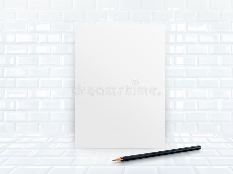 Cadre de papier d'affiche aux tuiles mur et plancher en céramique illustration de vecteur