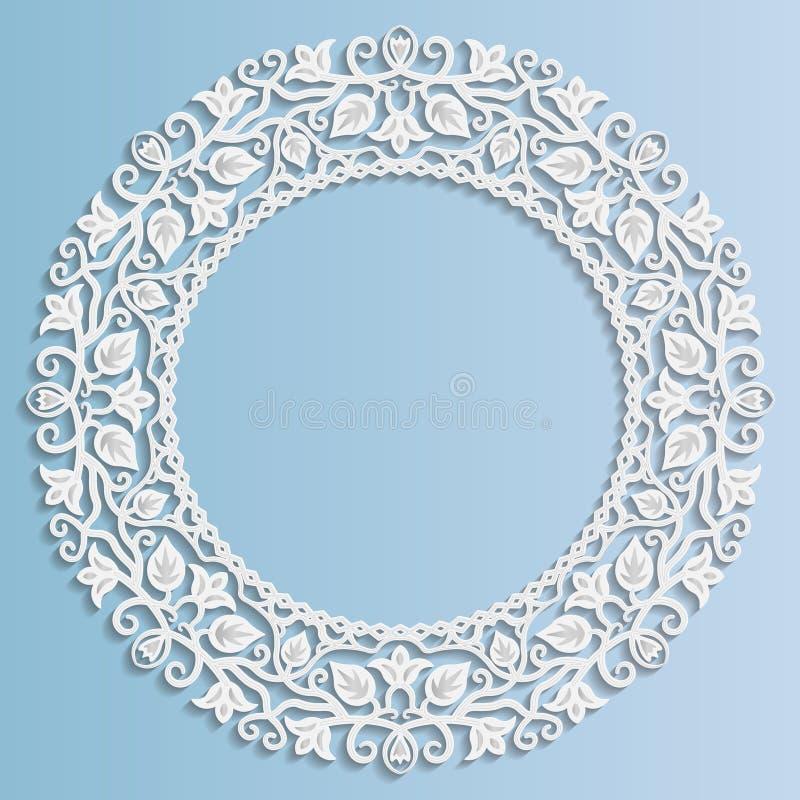 cadre de papier du vecteur 3D, vignette avec des ornements, ornement floral illustration libre de droits