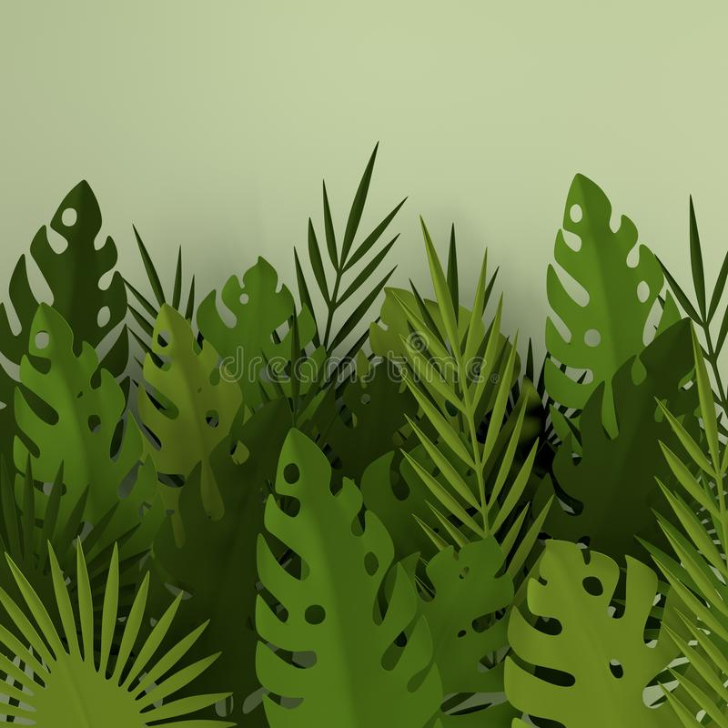Cadre de papier tropical de palmettes Feuille verte tropicale d'été Feuillage hawaïen exotique de jungle d'origami, fond d'été Pa illustration libre de droits