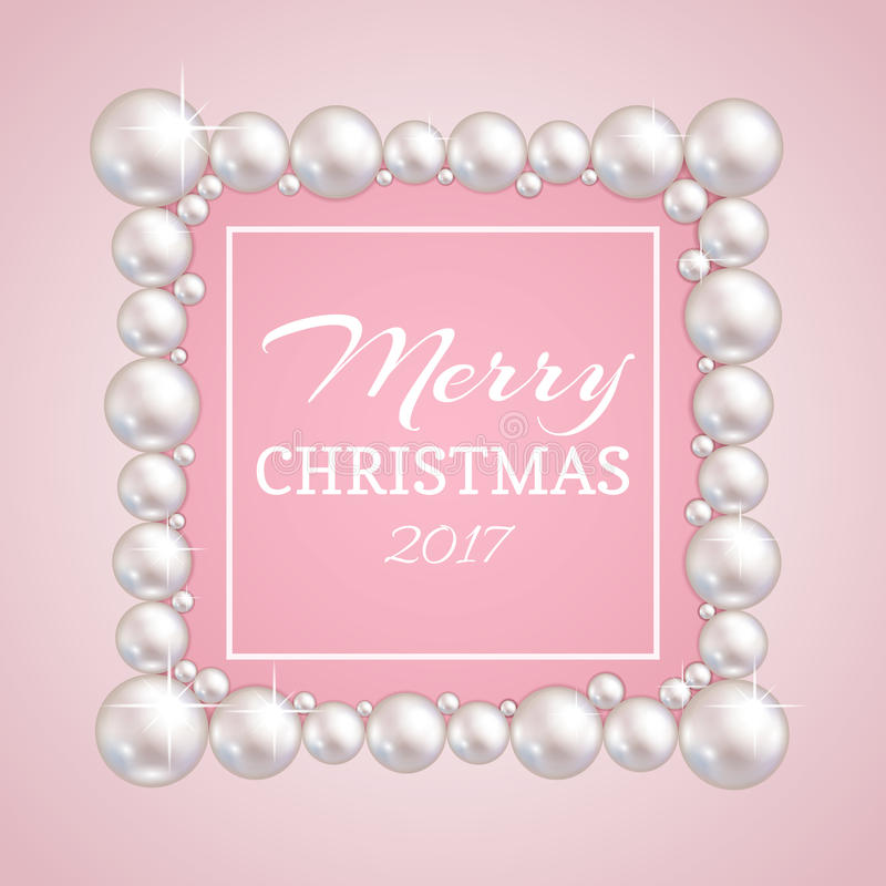 Cadre de perle de Noël Dirigez la frontière de perles de mode pour épouser, anniversaire ou invitation illustration libre de droits