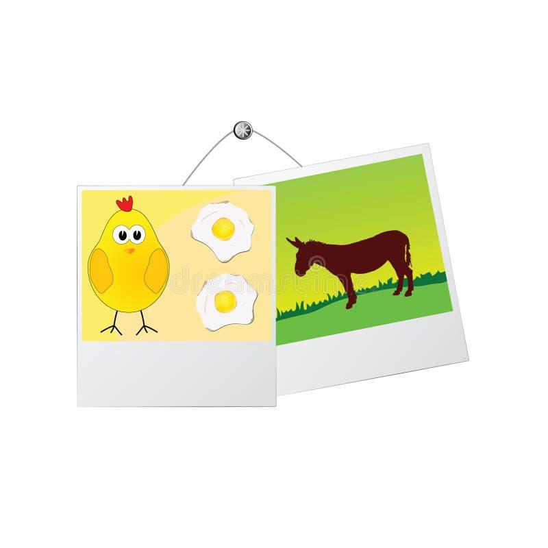 Cadre de photo avec l'âne mignon et le poulet illustration stock