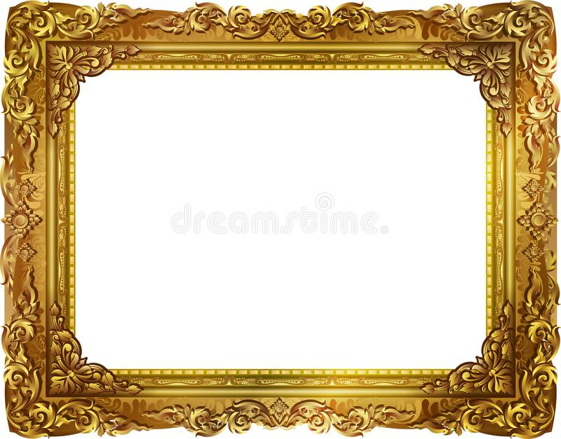 Cadre de photo d'or avec la ligne faisante le coin de la Thaïlande florale pour la photo photo stock