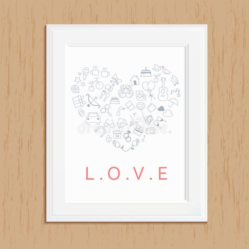 Cadre de photo d'icône d'amour sur le bois image libre de droits