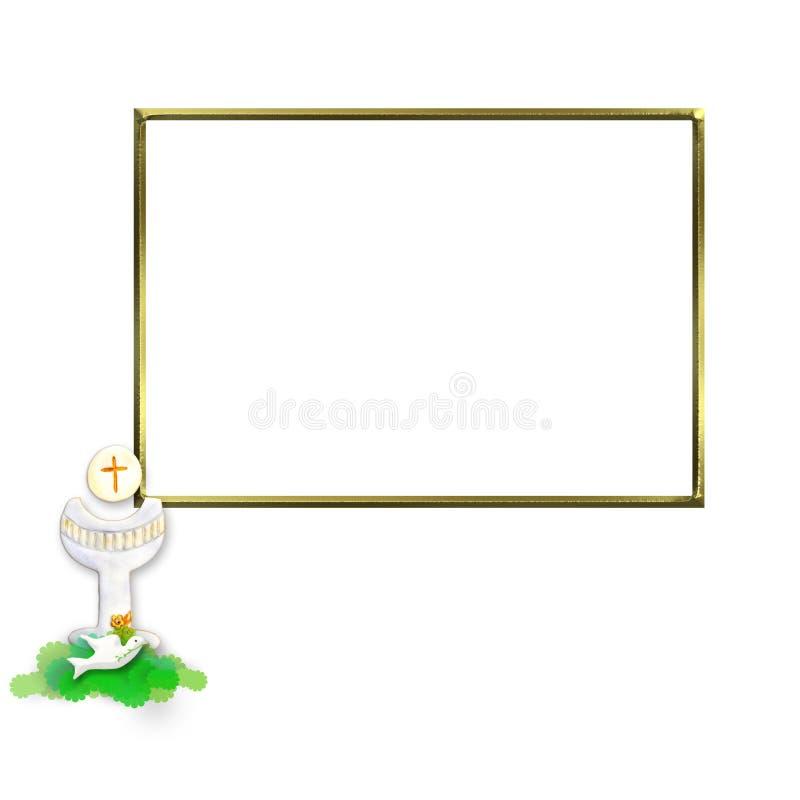 Cadre de photo de calice et de colombe d'invitation de communion illustration stock