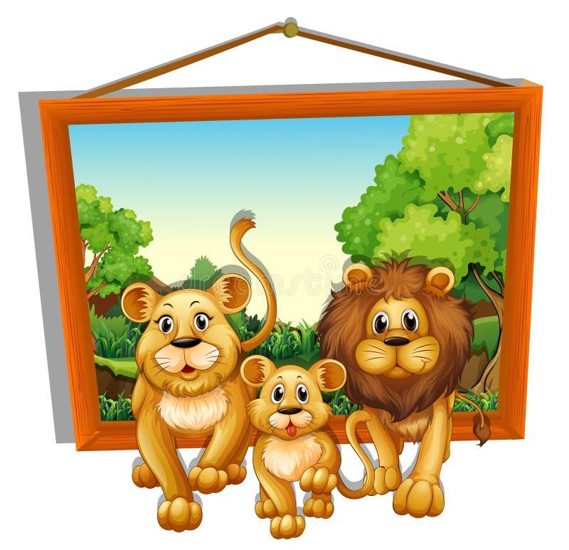 Cadre de photo de famille de lion illustration libre de droits