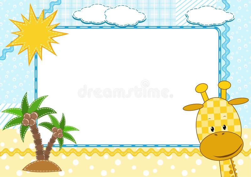 Cadre de photo du `s d'enfants. Giraffe. illustration de vecteur