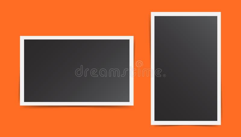 Cadre de photo sur le fond orange Pour votre photographie et pictu illustration de vecteur