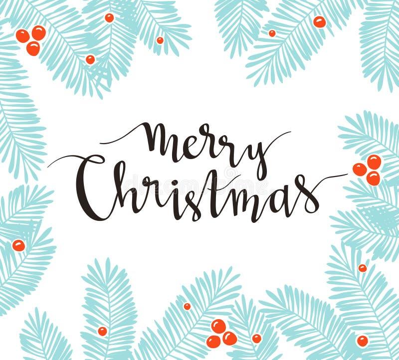 Cadre de pin de Noël avec le lettrage de vacances - Joyeux Noël Illustration de vecteur pour des cartes de voeux, invitations illustration de vecteur