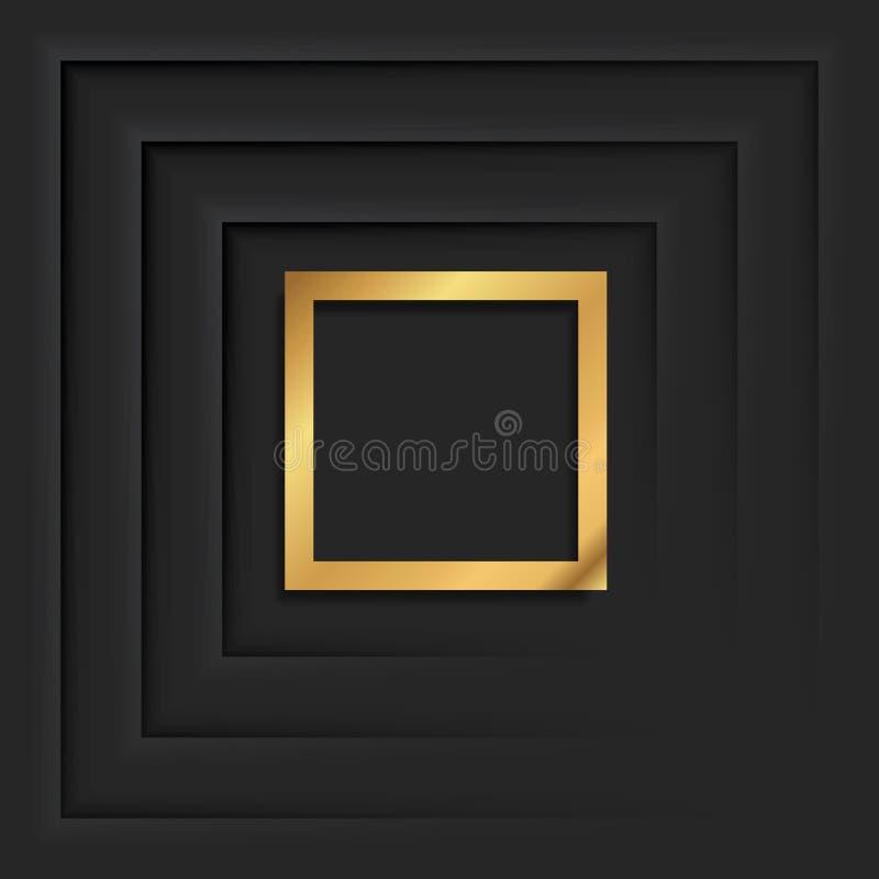 Cadre de place d'or ou frontière rectangulaire de luxe d'or illustration stock