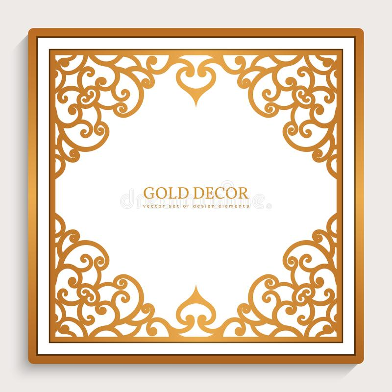 Cadre de place d'or de vintage illustration stock