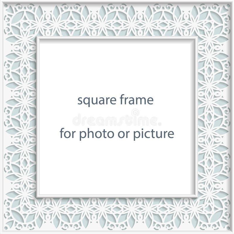 cadre de place de bas-relief du vecteur 3D pour la photo ou photo, vignette de vintage avec la frontière à jour, modèle de fête,  illustration libre de droits