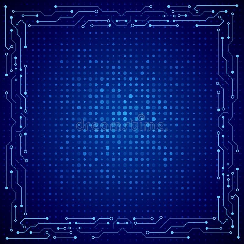Cadre de pointe de technologie sur le fond bleu illustration libre de droits