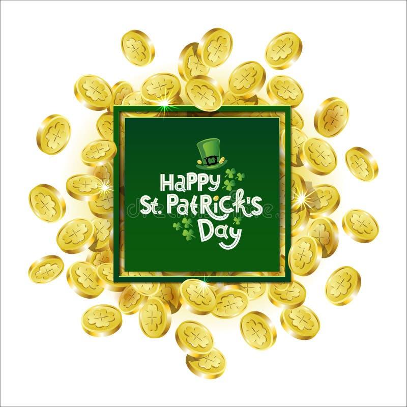 Cadre de publicité carré de vert de vecteur Pièces de monnaie d'or dispersées dépeignant l'oxalide petite oseille avec marquer av illustration libre de droits